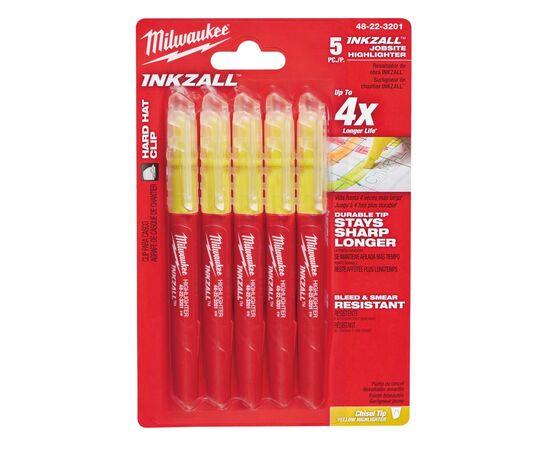 Маркер текстовыделитель Milwaukee INKZALL™ HIGHLIGHTER желтые - 5 шт - 48223201, фото
