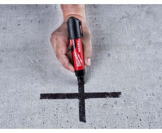 Маркер для стройплощадки Milwaukee INKZALL™ black chisel tip marker XL - 4932471558, фото , изображение 5