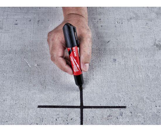 Маркер для стройплощадки Milwaukee INKZALL™ black chisel tip marker L - 4932471555, фото , изображение 6