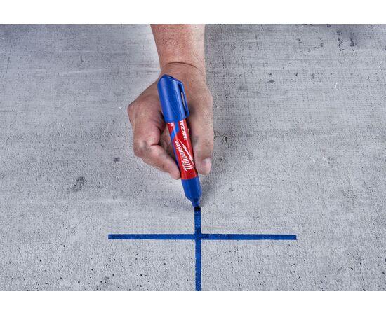 Маркер для стройплощадки Milwaukee INKZALL™ blue chisel tip marker L - 4932471557, фото , изображение 5