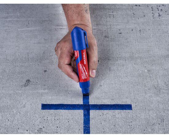 Маркер для стройплощадки Milwaukee INKZALL™ blue chisel tip marker XL - 4932471561, фото , изображение 5