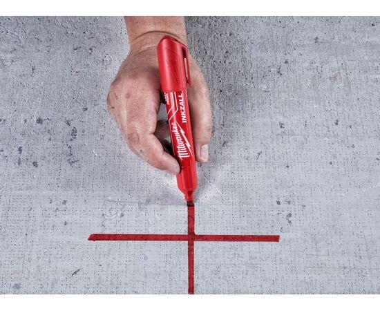 Маркер для стройплощадки Milwaukee INKZALL™ red chisel tip marker L - 4932471556, фото , изображение 5